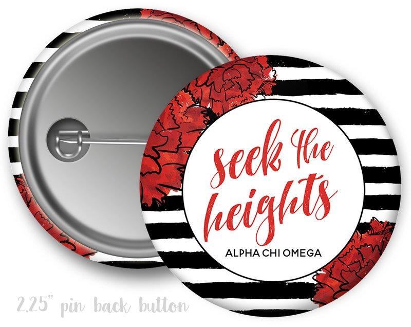 Alpha Chi Omega Floral Motto Button
