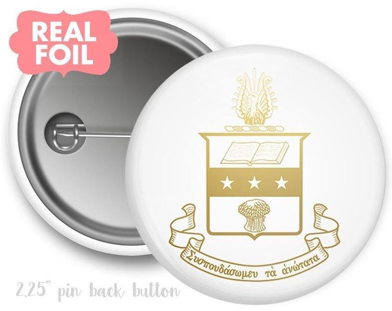Alpha Chi Omega Foil Crest - Shield Button