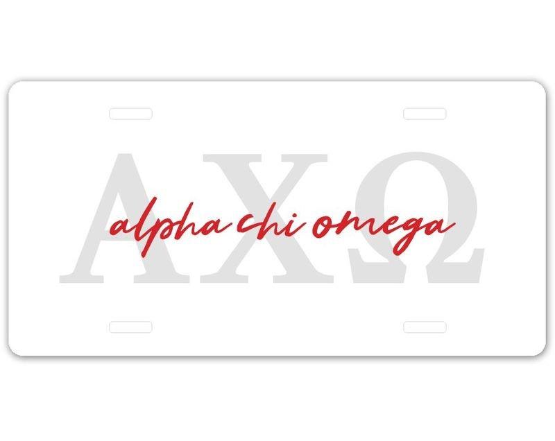 Alpha Chi Omega Letter Script License Plate