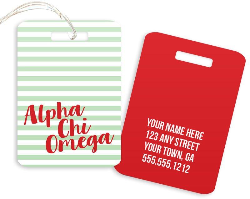 Alpha Chi Omega Personalized Striped Luggage Tag