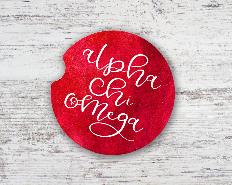Alpha Chi Omega Sandstone Car Cup Holder Coaster