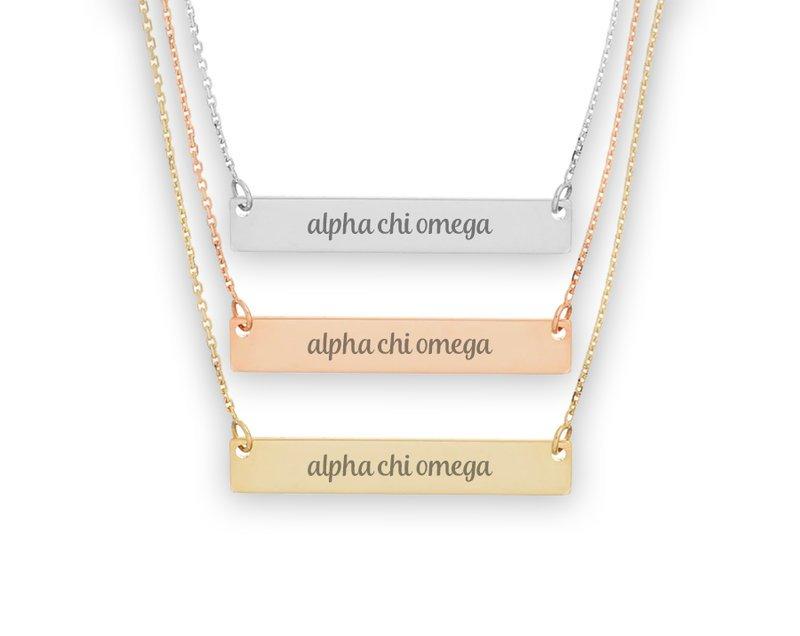 Alpha Chi Omega Script Bar Necklace