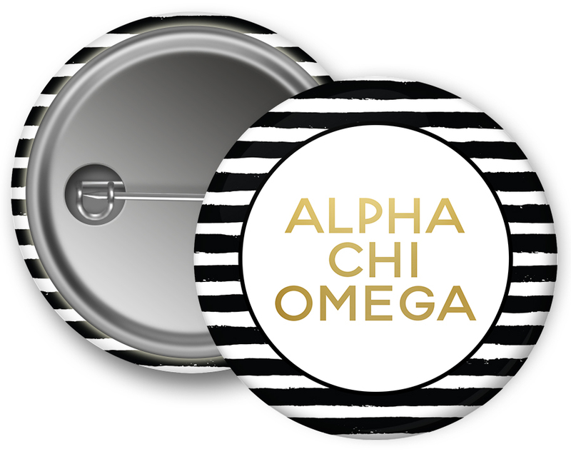 Alpha Chi Omega Striped Button