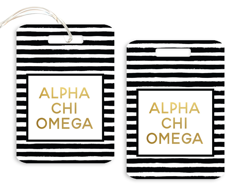 Alpha Chi Omega Striped Gold Luggage Tag