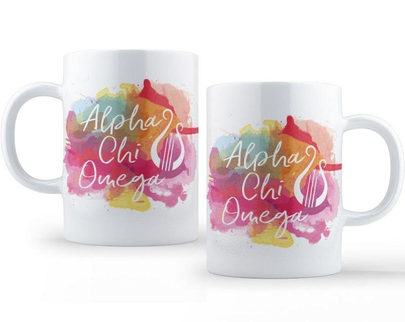 Alpha Chi Omega Watercolor Script Coffee Mug