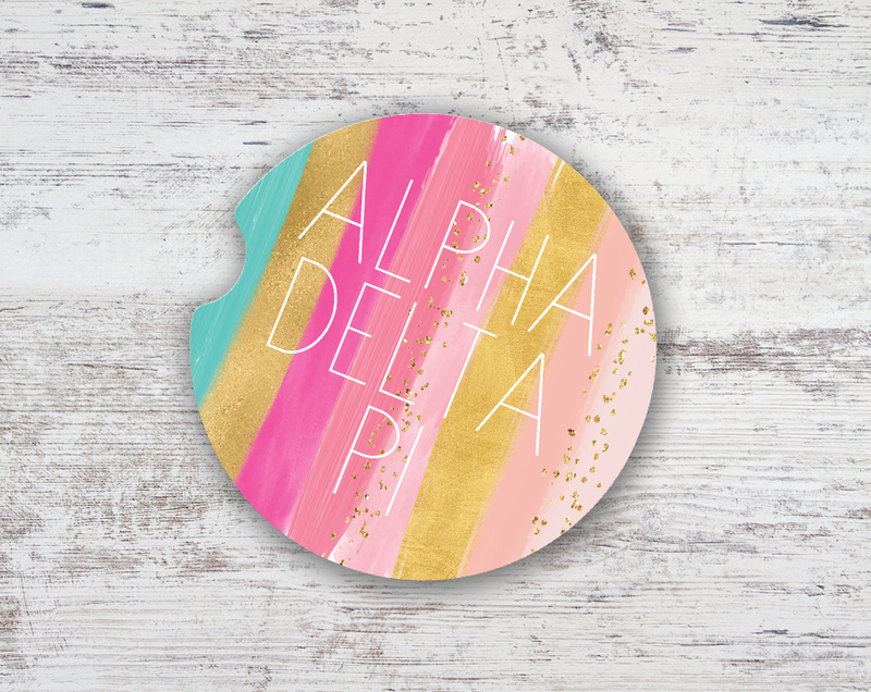 Alpha Delta Pi Bright Stripes Sandstone Car Cup Holder Coaster