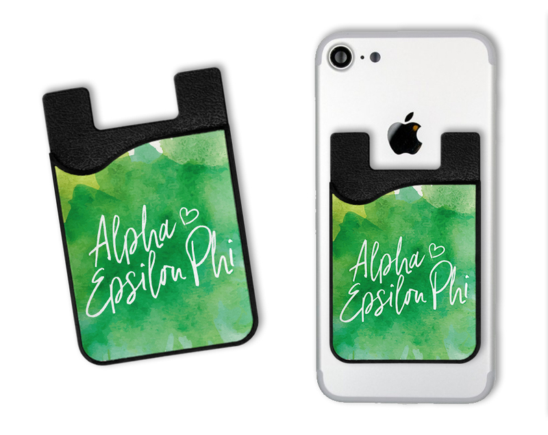 Alpha Epsilon Phi Watercolor Caddy Phone Wallet