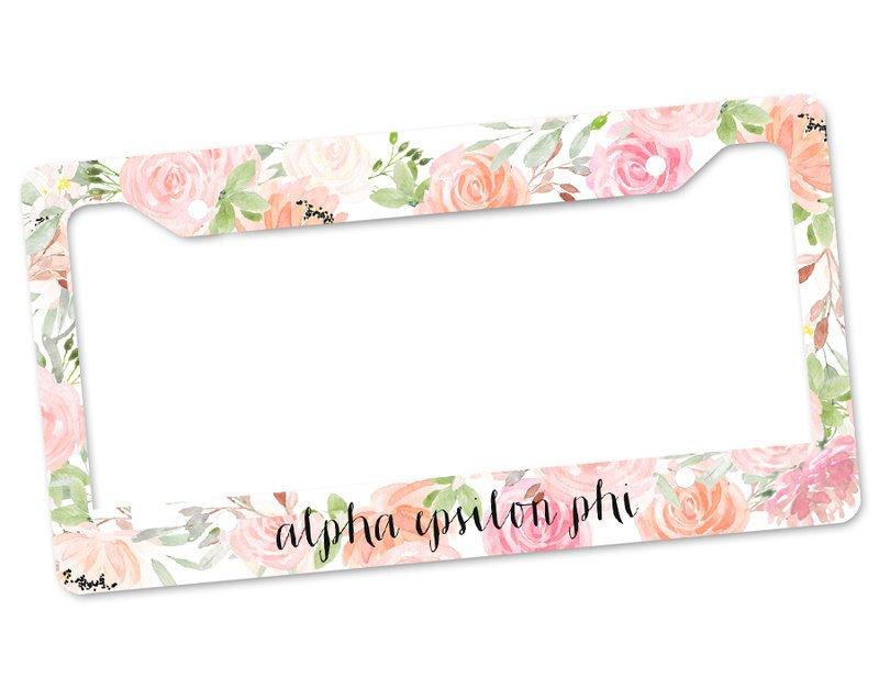Alpha Epsilon Phi Floral License Plate Frame