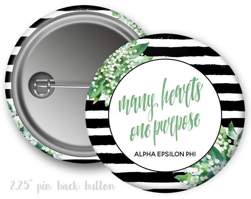 Alpha Epsilon Phi Floral Motto Button