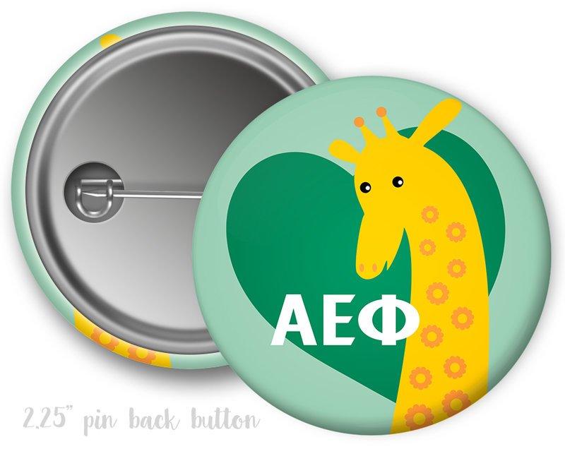 Alpha Epsilon Phi Heart Mascot Button