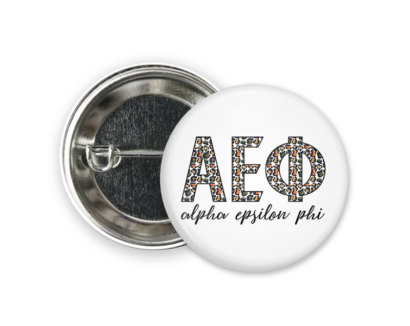 Alpha Epsilon Phi Leopard Button