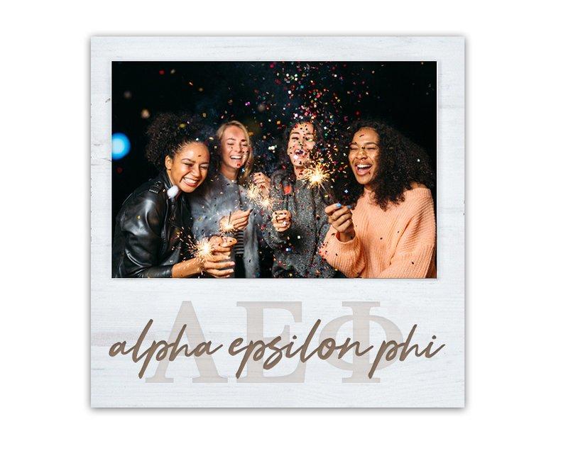 Alpha Epsilon Phi Letters Script Block Picture Frame