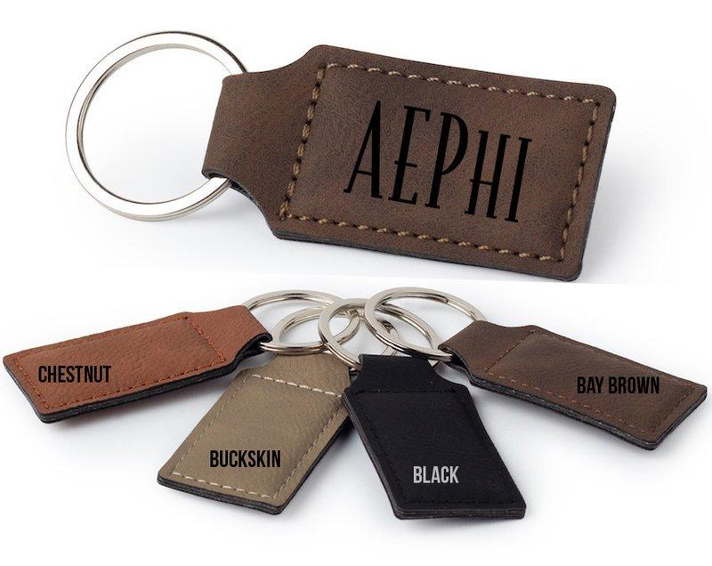 Alpha Epsilon Phi Logo Rectangle Faux Leather Keychain