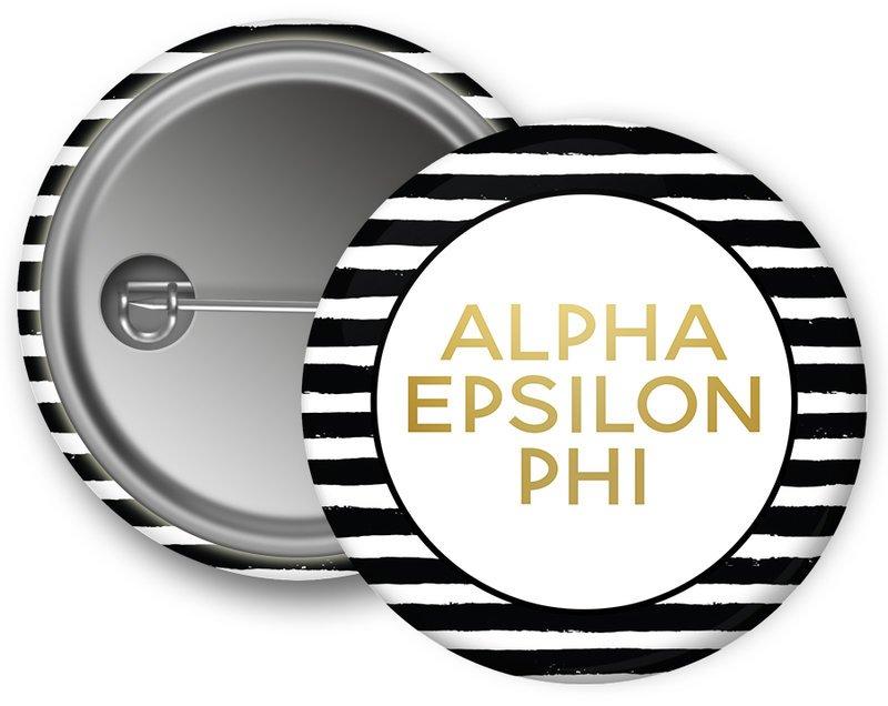 Alpha Epsilon Phi Striped Button