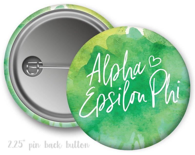 Alpha Epsilon Phi Watercolor Script Button