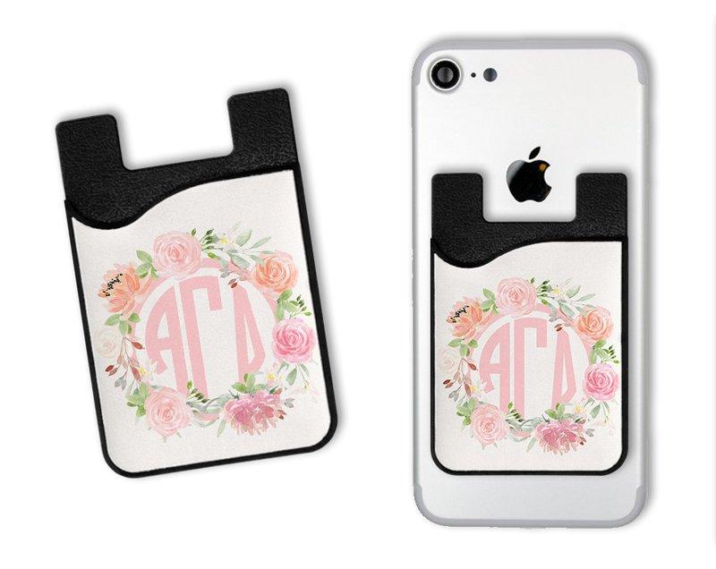 Alpha Gamma Delta Sorority Floral Monogram Caddy Phone Wallet