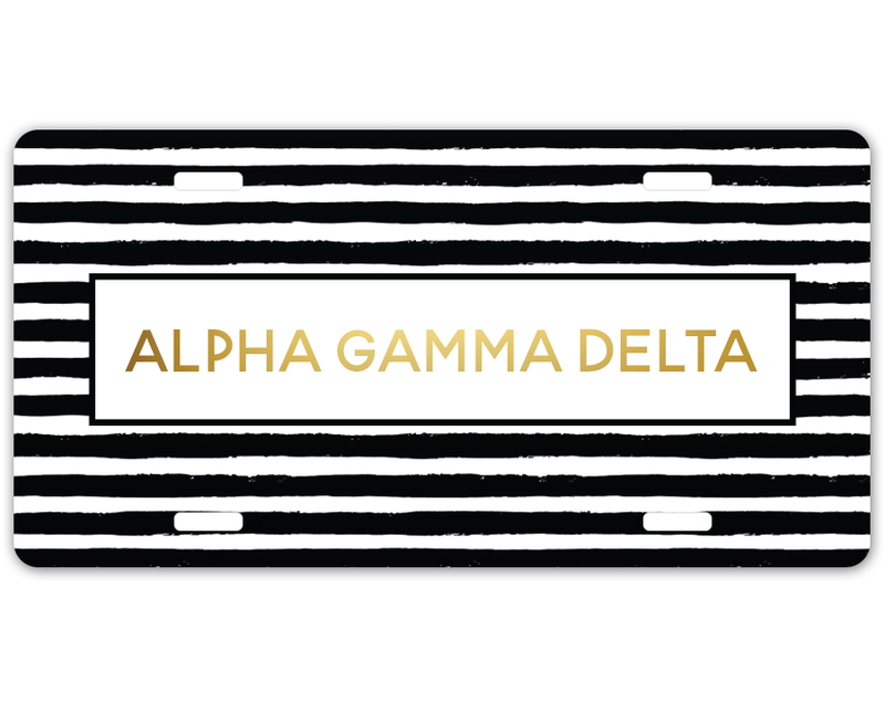 Alpha Gamma Delta Striped Gold License Plate