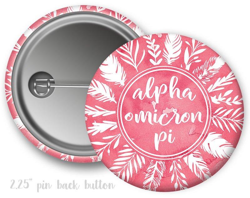 Alpha Omicron Pi Feathers Button