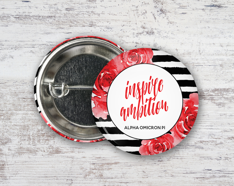 Alpha Omicron Pi Floral Motto Button