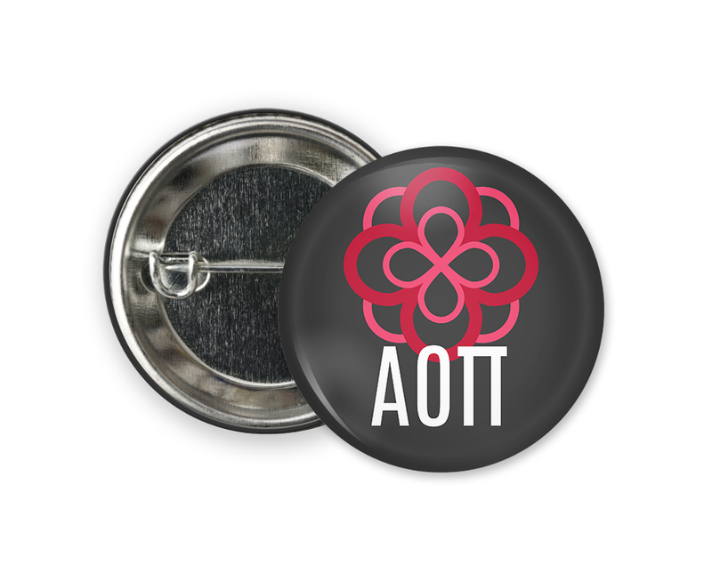 Alpha Omicron Pi Black Mascot Button
