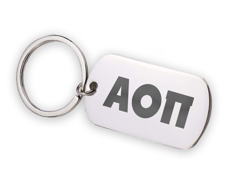 Alpha Omicron Pi Letters Stainless Keychain