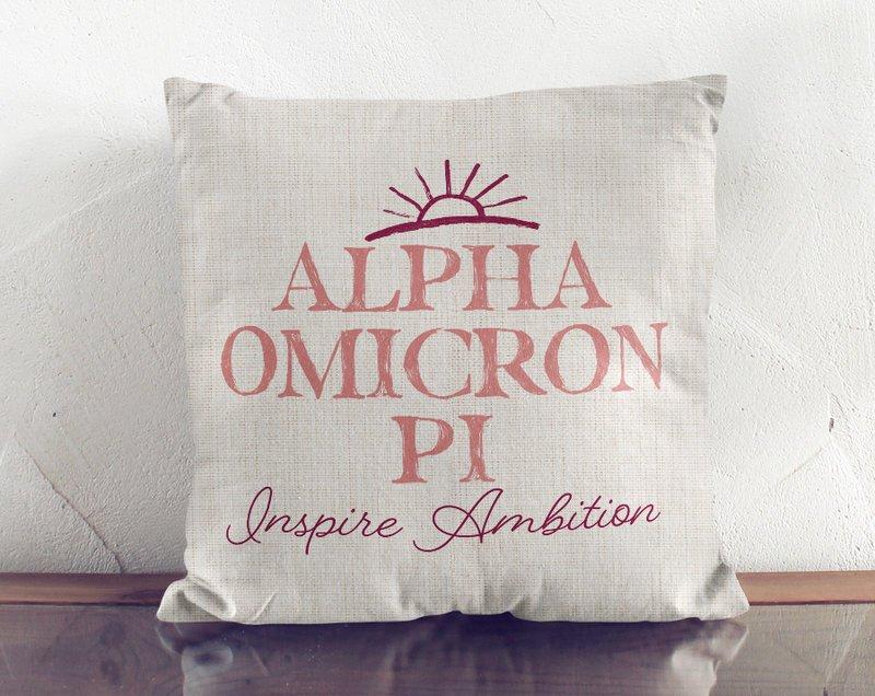 Alpha Omicron Pi Linen Sun Pillow