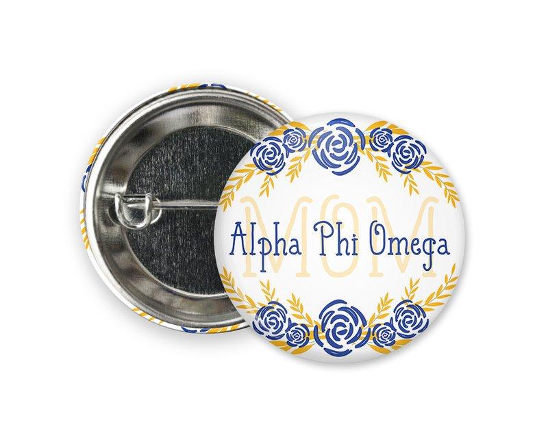 Alpha Phi Omega Mom Floral Button