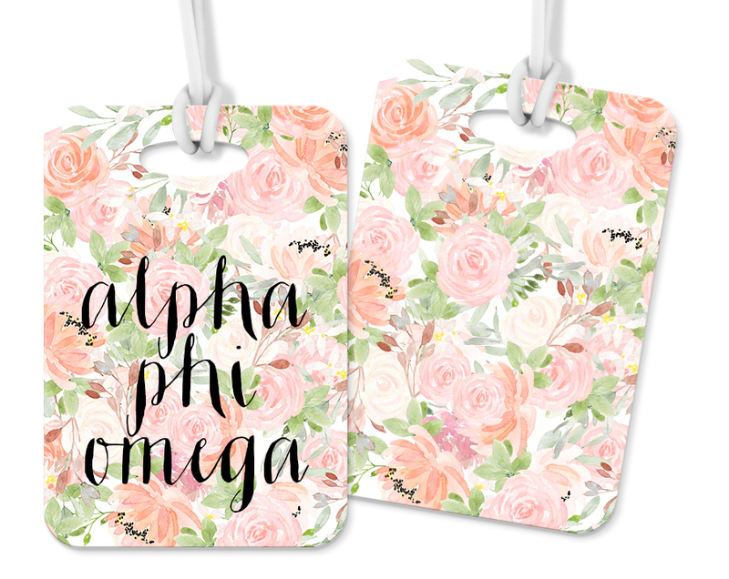 Alpha Phi Omega Personalized Pink Floral Luggage Tag