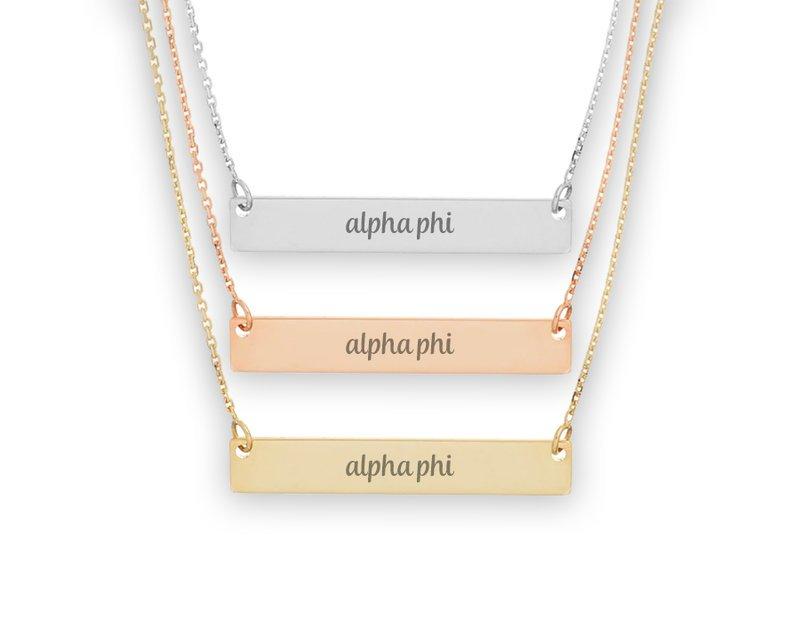 Alpha Phi Script Bar Necklace