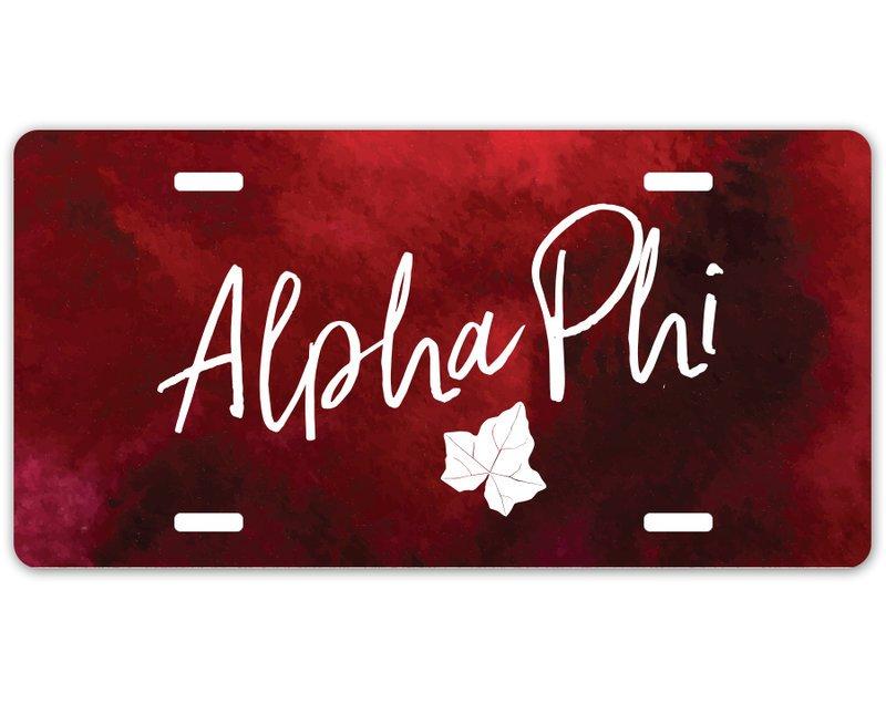 Alpha Phi Watercolor Script License Plate