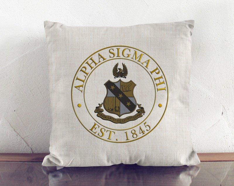Alpha Sigma Phi Crest Linen Pillow