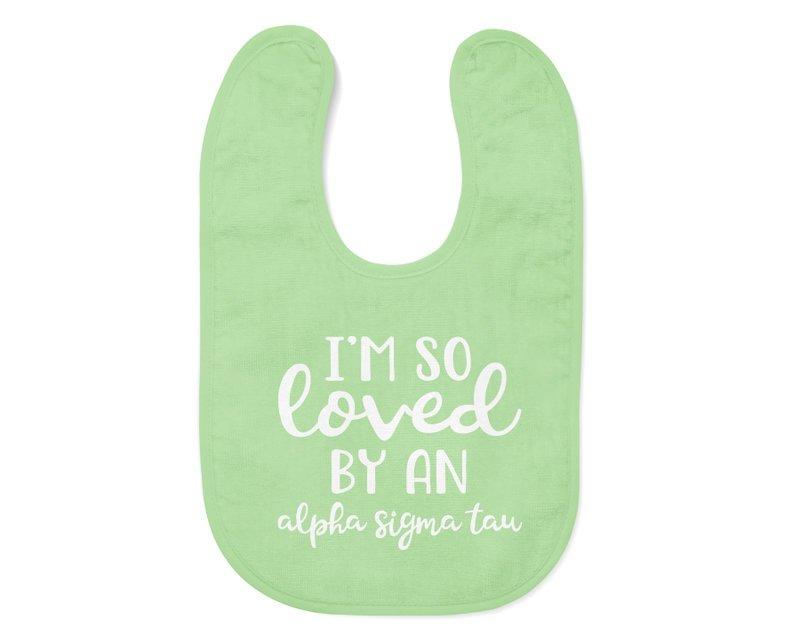 Alpha Sigma Tau I'm So Loved Baby Bib