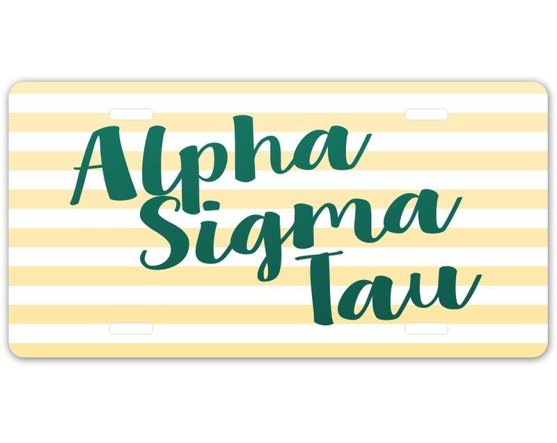 Alpha Sigma Tau Striped License Plate