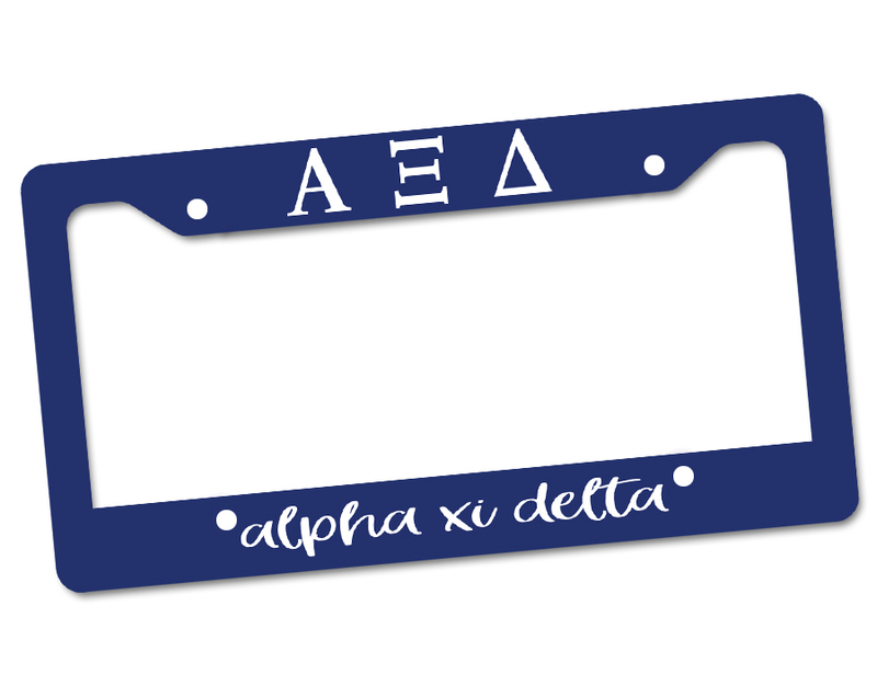 Alpha Xi Delta Custom License Plate Frame