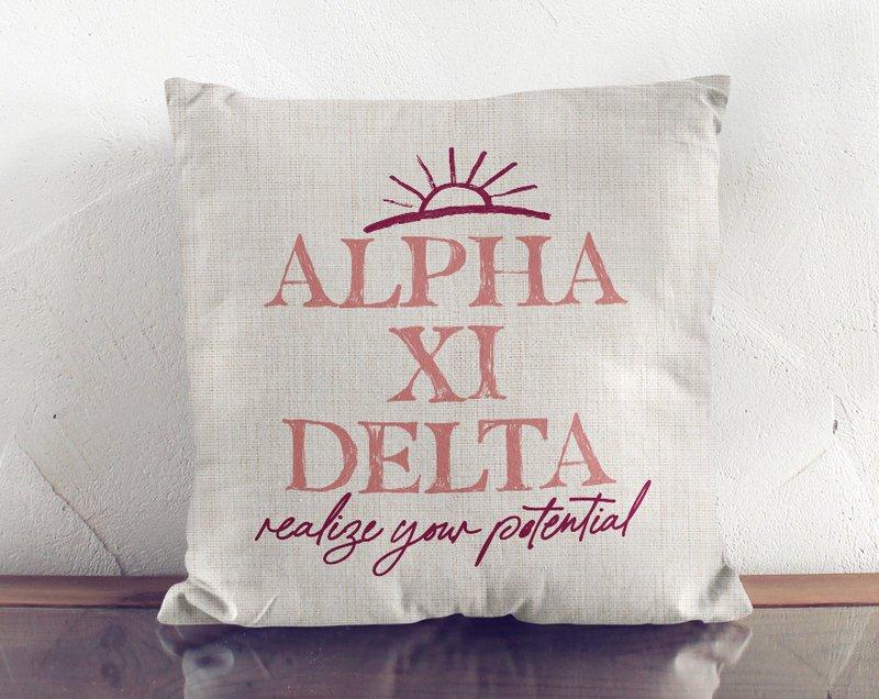 Alpha Xi Delta Linen Sun Pillow