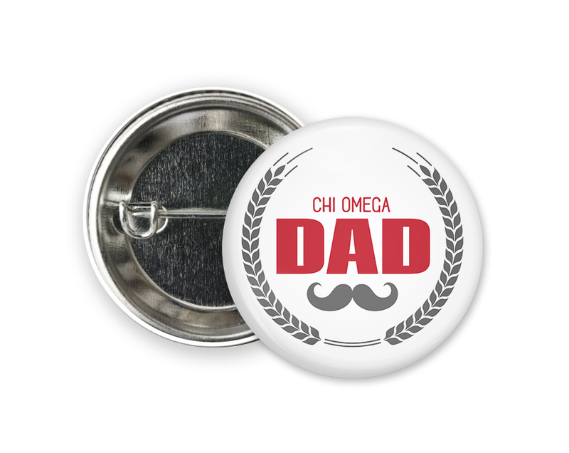 Chi Omega Dadstache Button