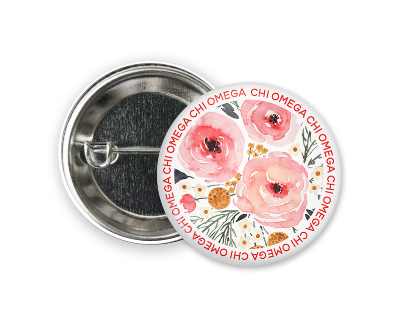 Chi Omega Floral Circle Button