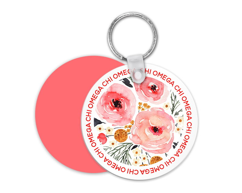 Chi Omega Floral Circle Key Chain