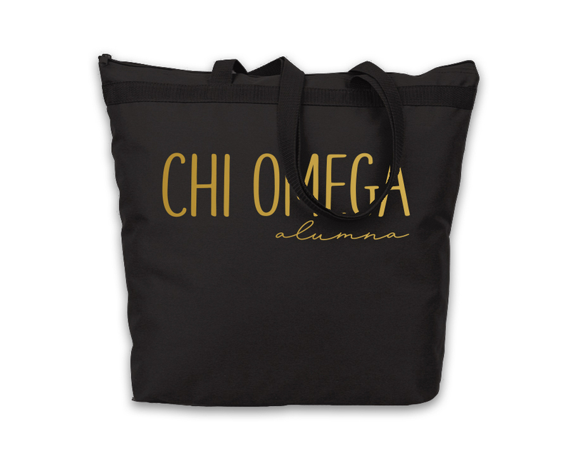 Chi Omega Gold Foil Alumna Tote
