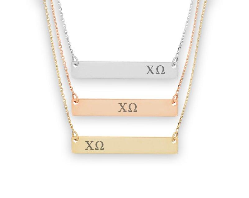 Chi Omega Letters Bar Necklace