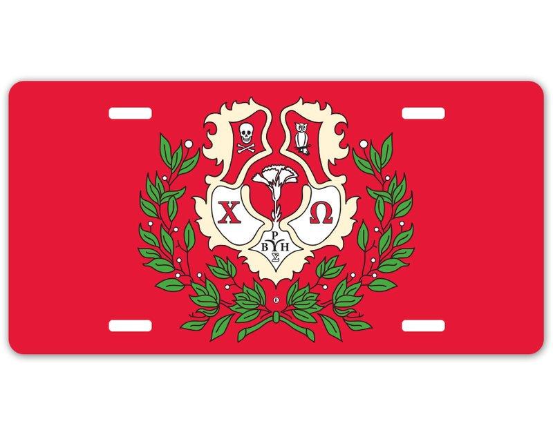 Chi Omega Crest - Shield License Plate