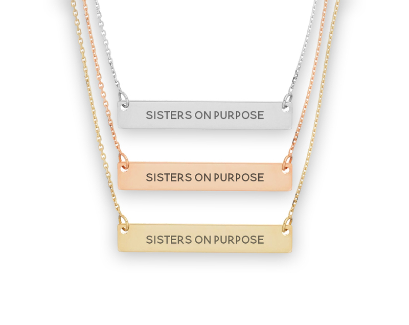Chi Omega Motto Bar Necklace