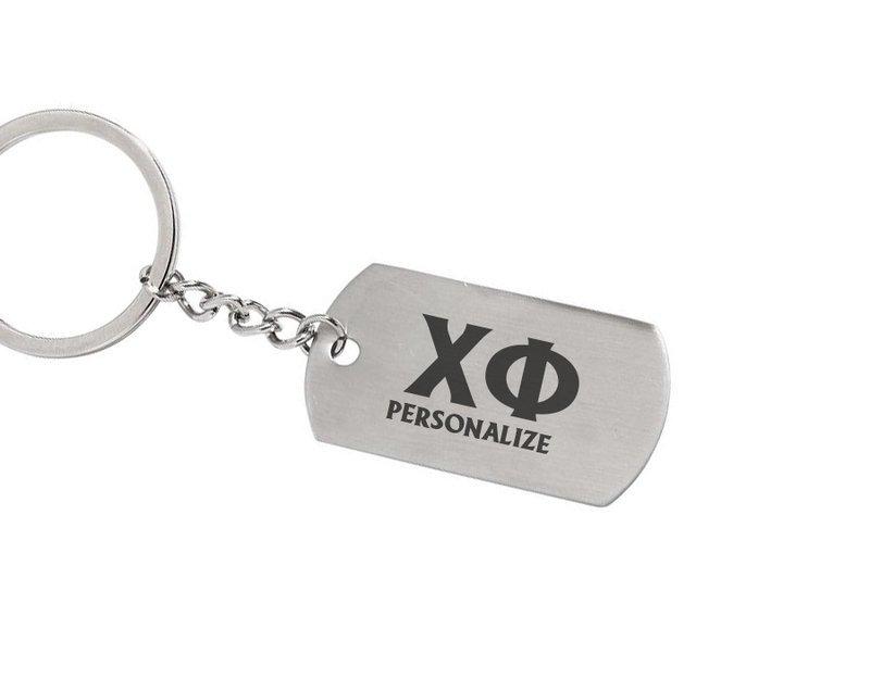 Chi Phi Dog Tag Style Custom Keychain