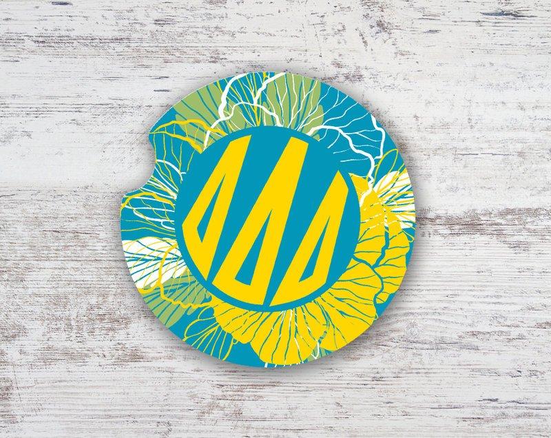 Delta Delta Delta Floral Monogram Sandstone Car Cup Holder Coaster