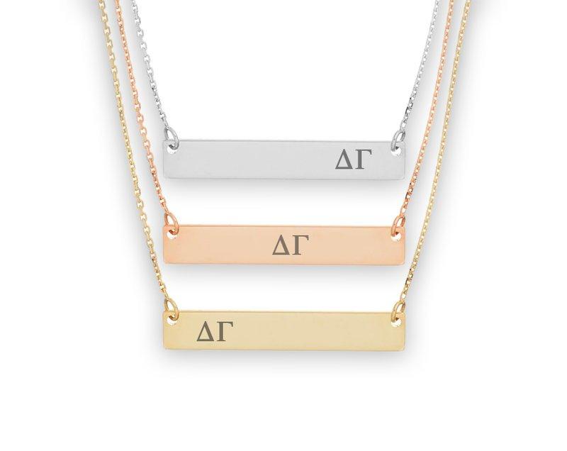 Delta Gamma Letters Bar Necklace