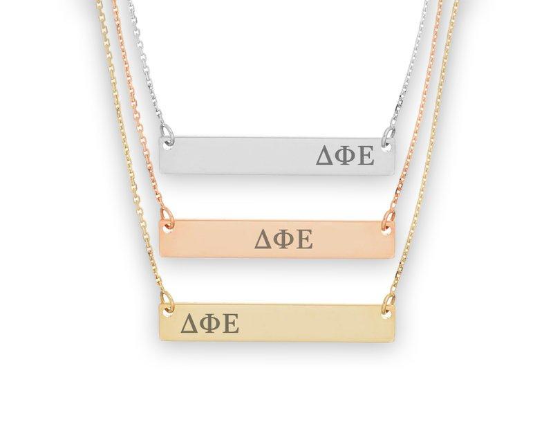 Delta Phi Epsilon Letters Bar Necklace