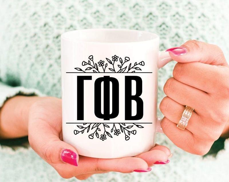 Gamma Phi Beta Floral Letters Mug