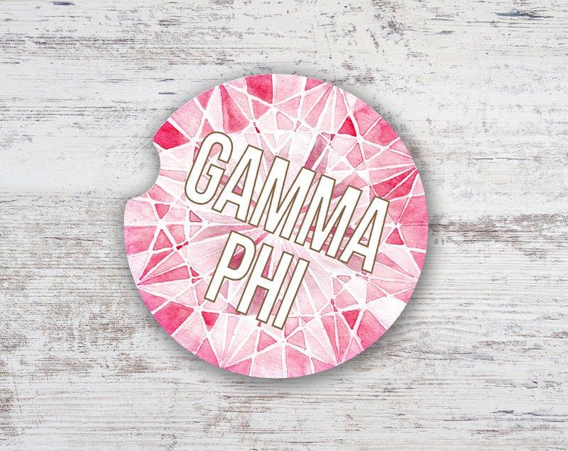 Gamma Phi Beta Jewel Sandstone Car Cup Holder Coaster