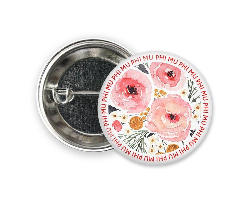 Phi Mu Floral Circle Button