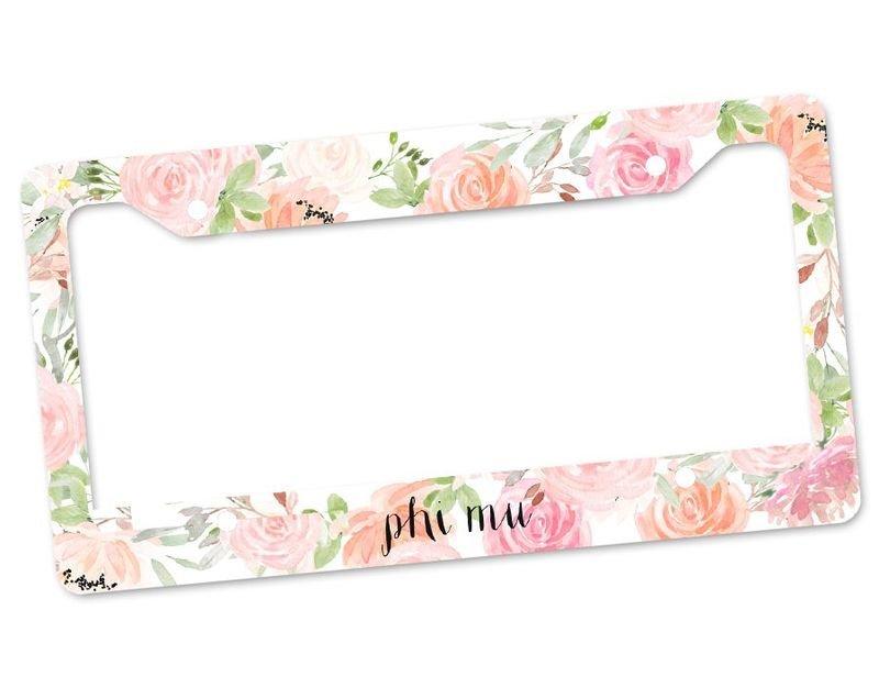 Phi Mu Floral License Plate Frame